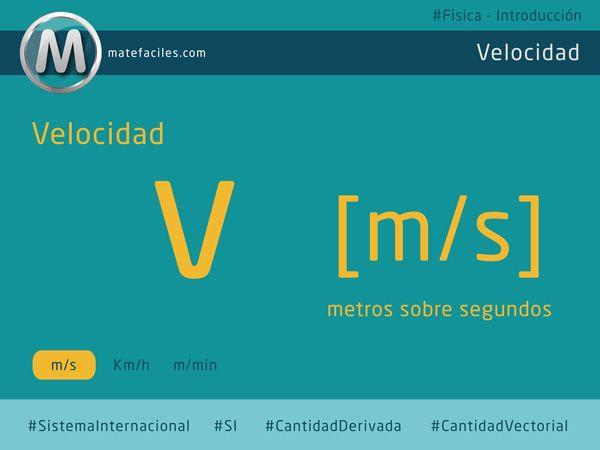 La #velocidad es una #cantidad #derivada y #vectorial de la #Física, sus #unidades oficiales son los #metros sobre #segundos, y así la utilizaremos para resolver #problemas. #matefaciles