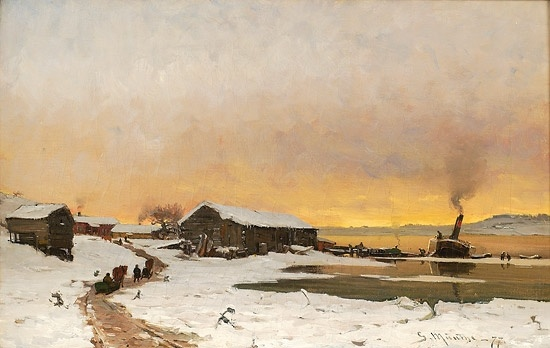 Gerhard Munthe (Norway,1849-1929): Fergested ved Mjøsa 1877