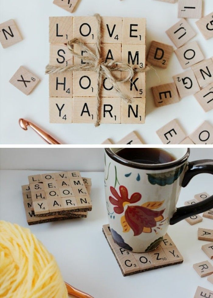 long distance friendship gifts, coasters made from scrabble letter blocks stuck together, tied with plain string, near more loose tiles, bottom photo shows mug placed on one of the coasters