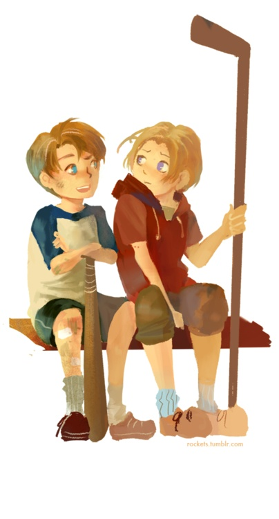 Alfred and Matthew; looks like their interests in sports came early! - Artist unknown