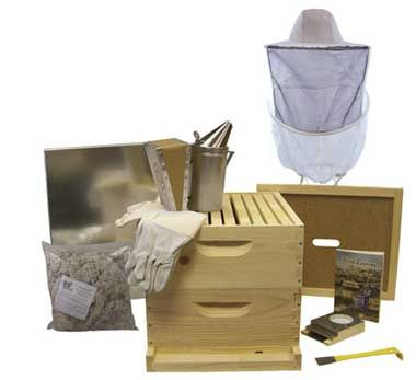 $174.50 Hobby Kit No. 2 Everything needed to get started in beekeeping except the bees. Kit is unassembled. Paint outside of the brood boxes only. Contains:2-6 5/8'' supers•20-6 1/4'' grooved top bar frames •20 sheets plastic based foundation•1 bottom board•1 Telescoping metal cover•1 Inner cover •1 reversible entrance reducer•1 entrance feeder•1 all purpose hive tool•1 bee smoker to calm bees •1 smoker fuel 1 lb.•1 protective bee veil•1 sting resistant gloves•1 book