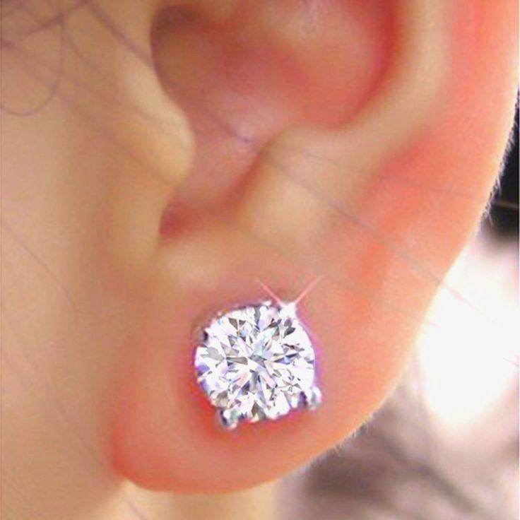 Round Cut Brilliant 1.00Ct Diamond Earrings Stud Solid 14Kt White Gold 1087 | eBay