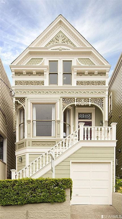 San Francisco - This house would be so beautiful if the main color was actually a pretty color so that the white trim & detail work would really stand out.  Plus, some of the detail work could be in lighter shades of a pretty main color or contrasting colors.