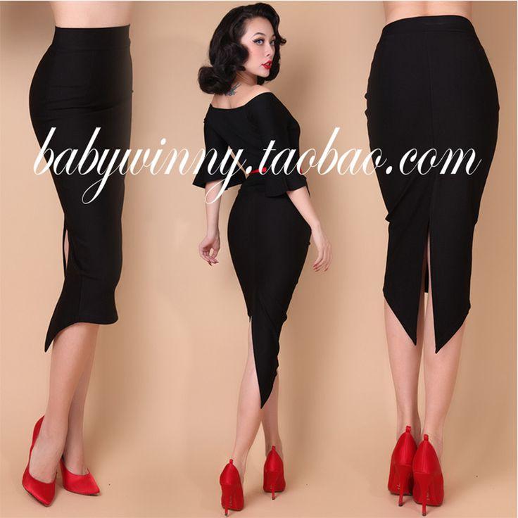 Vintage Elegant Dovetail High Waisted Knee Length Sexy Black Pencil Skirt