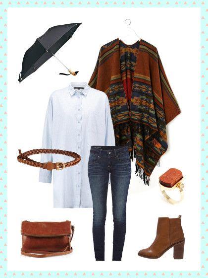 What to wear to work: Regnerischer Tag? Wie wäre es mit einem Cape, Boots und Jeans fürs Büro?