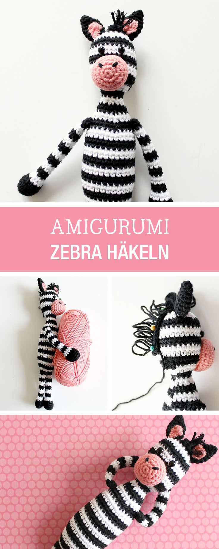 DIY-Anleitung: Ausbruch der Zootiere, Amigurumi Zebra selbst häkeln / DIY tutorial: escape of the zoo animals, crocheting amigurumi zebra via DaWanda.com