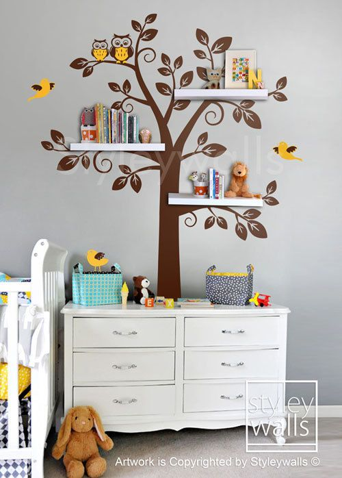 Shelf Tree Wall Decal, Shelving Tree Wall Decal for Baby Nursery Children, Owls and Shelves Tree Wall Sticker, Boy and Girl Room Decor