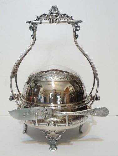 victorian butter dish | BEST 1860s Victorian Aesthetic Roll Top Dome Butter Caviar Dish Museum ...