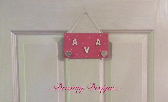 Personalised hand painted handmade door sign by Dreamydesigns01
