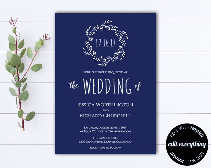 Navy Blue Wedding Invitation Template - Instant Download Printable Invitation - Wreath Invitation Wedding Template - DIY Wedding Template by MintedMemories on Etsy