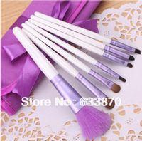 Envío gratis del color púrpura niza moda 7 unids pruple color viajes pinceles de maquillaje Set de belleza cosmético con el caso