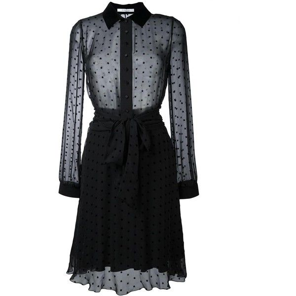 Givenchy Star Embellished Sheer Shirt Dress (254,420 INR) ❤ liked on Polyvore featuring dresses, long sleeve a line dress, long sleeve fitted dress, collared shirt dress, silk shirt dresses and silk dress