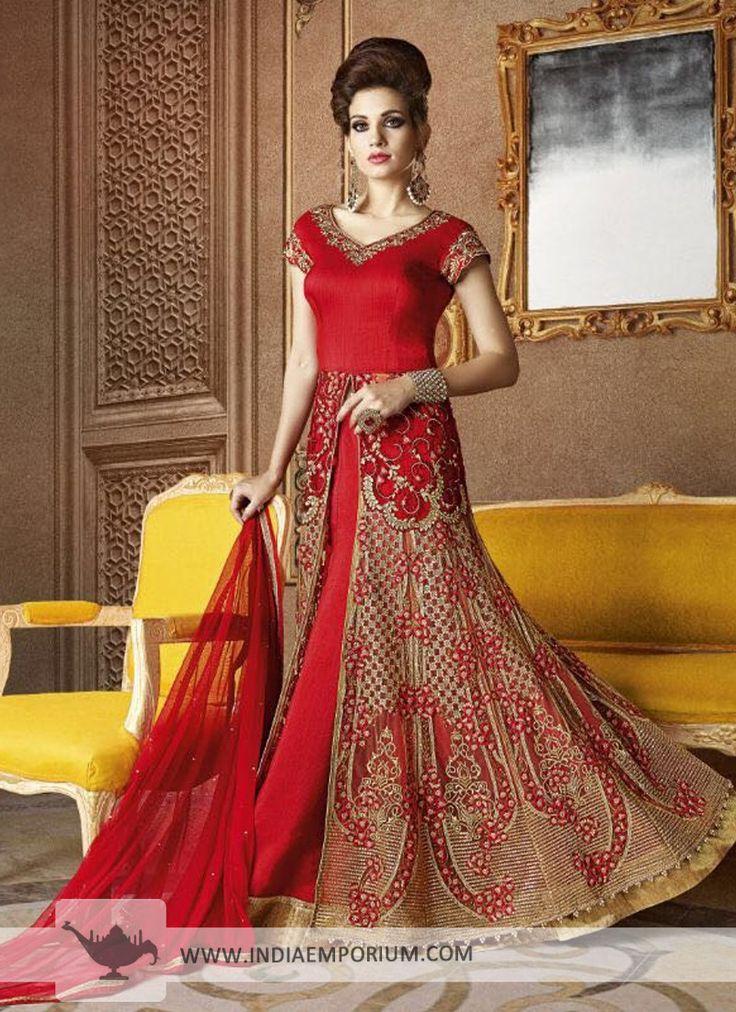 Fabulous Silk & Georgette Red Bridal Achkan Style Suit Order now https://goo.gl/dWmxCL #salwarkameez #like4like #happymomentsinlife #onlineshopping #indiaemporium