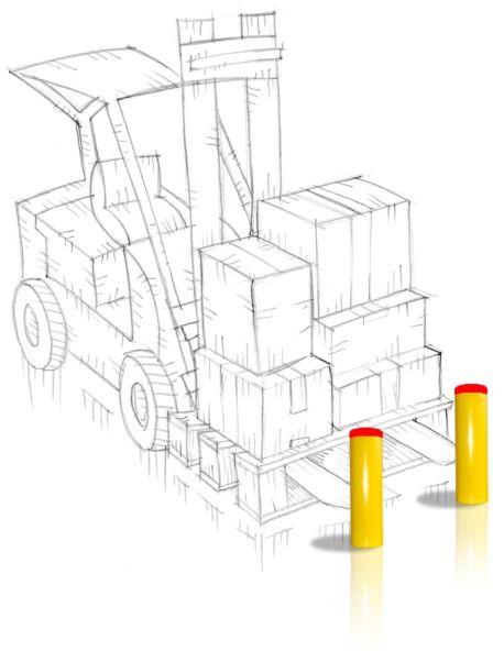 Nueva #pilona #antichoque de #AngelMir.  #Flexible e #indeformable. Evita los daños en los vehículos. Existen diferentes medidas. #puntoscarga #loadingdock #andenescarga