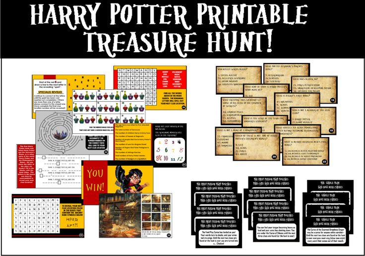 "Printable Harry Potter Trivia Treasure Hunt - You decide the hiding locations of the clues so you can play anywhere.  Players search to find clues, solve puzzles, and avoid the ""curses"".So much fun!"