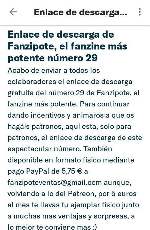 Acabo de enviar a todos los colaboradores el enlace de descarga gratuita del número 29 de Fanzipote, el fanzine más potente. Para continuar dando incentivos y animaros a que os hagáis patronos, aquí esta, solo para patronos, el enlace de descarga de este espectacular número.  También disponible en formato físico mediante pago PayPal de 5,75 € a fanzipoteventas@gmail.com aunque, volviendo a lo del Patreon, por 5 euros al mes te llevas tu ejemplar físico junto a muchas mas ventajas y…