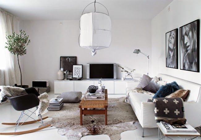 Grey scandi living room with a Tolomeo table light from Artemide