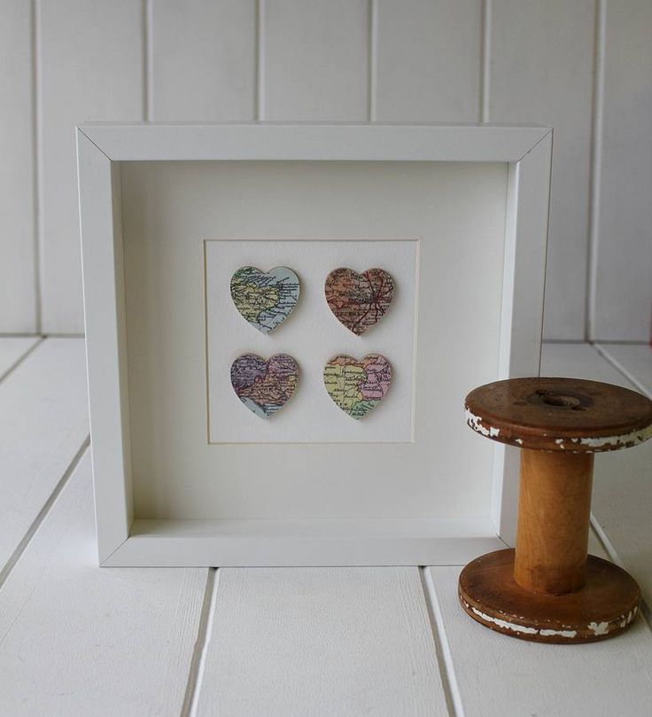 personalised four hearts map picture by posh totty designs interiors | notonthehighstreet.com