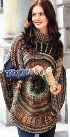 Круглое вязаное пончо спицами