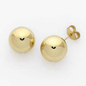 Classic ball stud earrings: from from 3.0- 12.0mm they always look great. Avaliable in 18kt or 9kt/ yellow, pink or white gold.