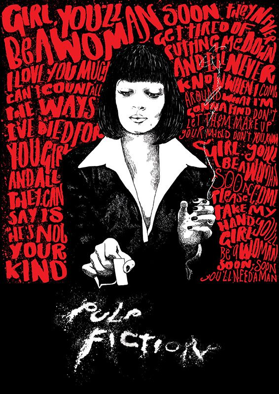 Pulp+Fiction (see more on http://www.tranchesdunet.com/affiches-de-films-revisitees/ )