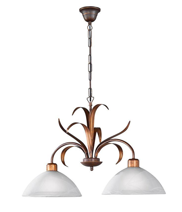Diese rustikale Capri #Hängeleuchte zeichnet sich durch sein modernes Design in Verbindung mit Zeitlosigkeit aus. Durch die 2 weißfarbigen Glasschirme wird sie ihren Wohnbereich optimal mit Licht versorgen     #Wohnideen #Lampen #Wohndesign #Beleuchtung