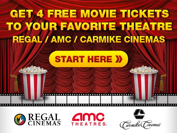 Get 4 Free Movie Tickets to your favorite Theatre - Regal\/Amc - create your own movie ticket