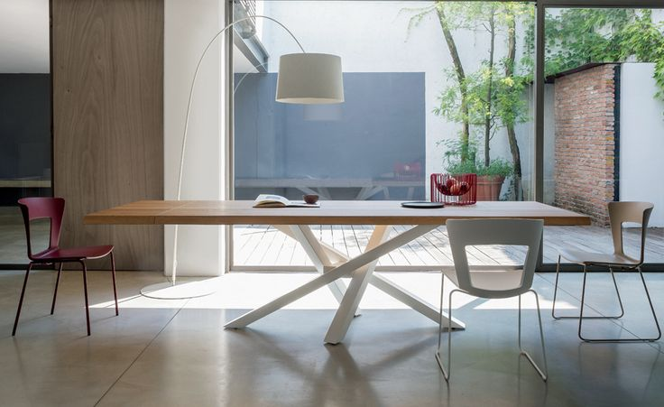 Rectangular Stainless Steel And Wood Dining Table SHANGAI