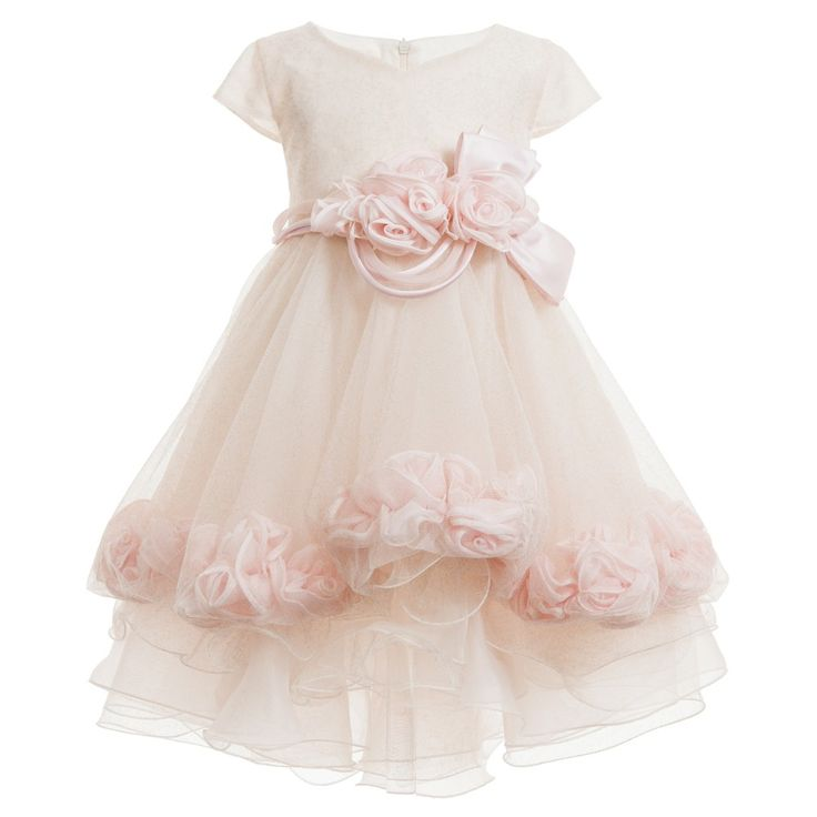 Ladia Pink Tulle Dress with Silk Roses  at Childrensalon.com