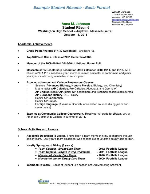 Resume Examples For Year 9 Students 1-Resume Examples Sample