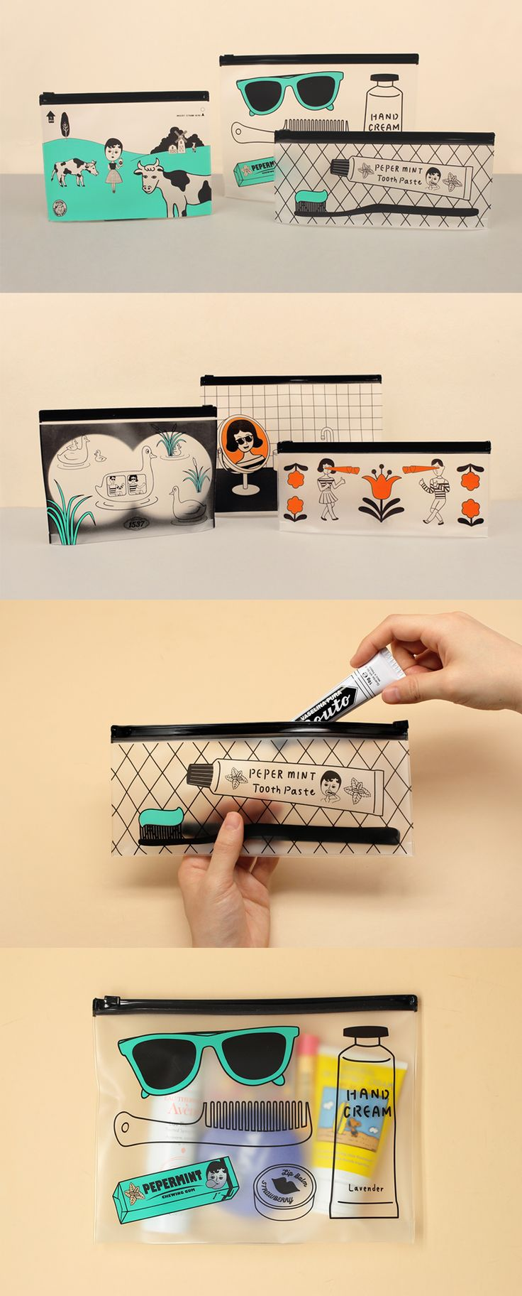 Ooh La La~~! Check out these super cute and quirky translucent pouches for all your travel needs!