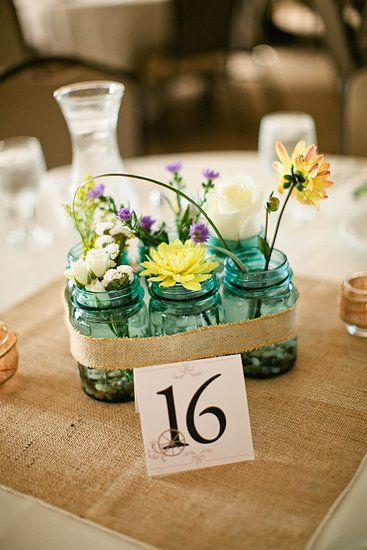 Mason Jars Filled With Wildflowers