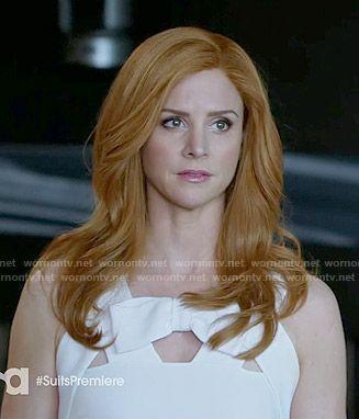 Donna's white bow front cutout dress on Suits.  Outfit Details: http://wornontv.net/50048/ #Suits