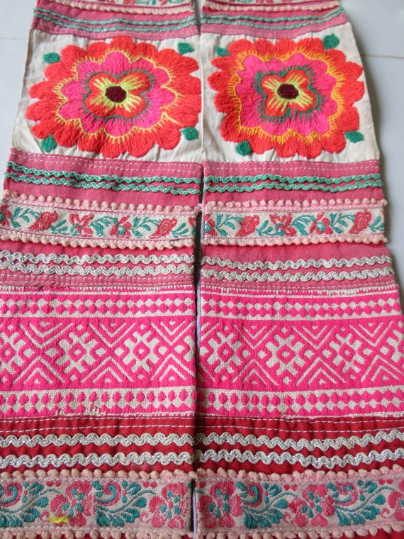 This piece of vintage embroidery beautiful work handmade from the mieo hill tribe Thailand, Measurements, are about 16 inches long Not including the