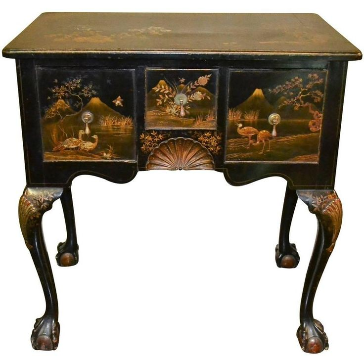 Early 19th Century Queen Anne Chinoiserie Lowboy | From a unique collection of antique and modern tables at https://www.1stdibs.com/furniture/tables/tables/