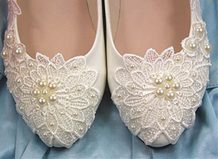 White pearl Wedding flat ballet lace flower Bridal shoes Bridesmaid dress   #PlatformsWedges