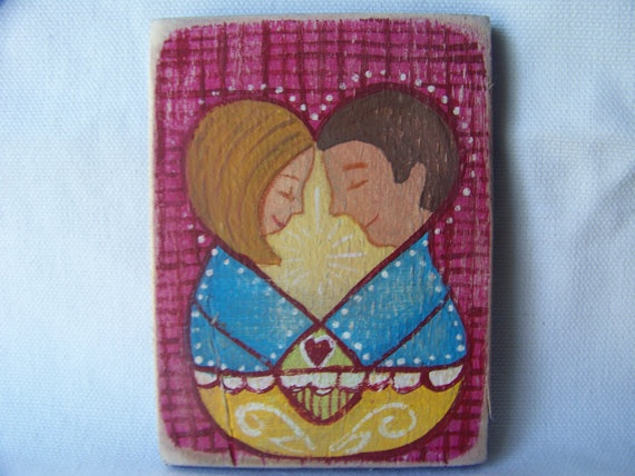 The Lovers  Mini Folk Art Original by Hilary by RunningDevil, $15.00