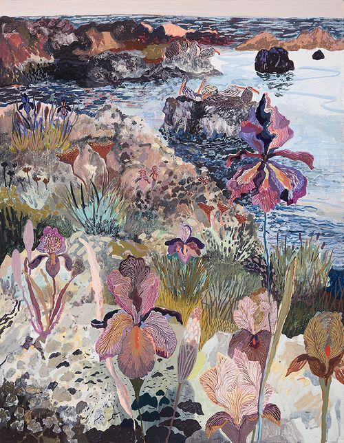 Irises and Distant Pelicans