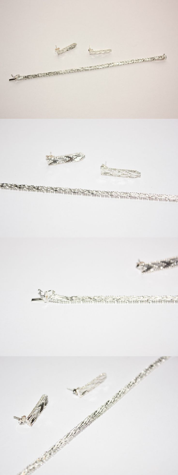 Precious Metal without Stones 164325: Bnwot Qvc Riccio Sterling Silver Bracelet And Earrings Set! -> BUY IT NOW ONLY: $53.62 on eBay!