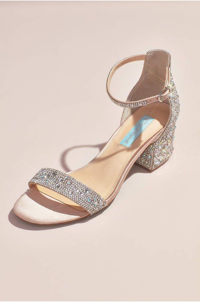 Girls Heeled Sandals With Crystal Strap David S Bridal Block Heels Sandal Bridal Shoes Low Heel Sandals Heels