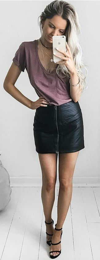 2933 best Trends - Leather Skirts images on Pinterest