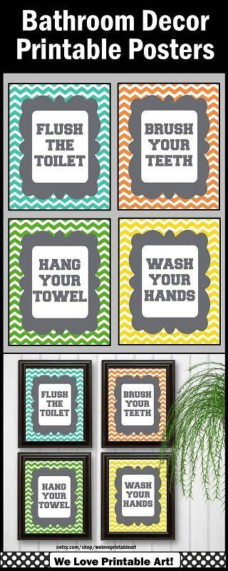 Bathroom Decor: These colorful chevron bathroom signs will look great in your kids' bathroom. These are INSTANT DOWNLOAD for quick and easy home decor. You may print in 8x10, 16x20 or 24x30.