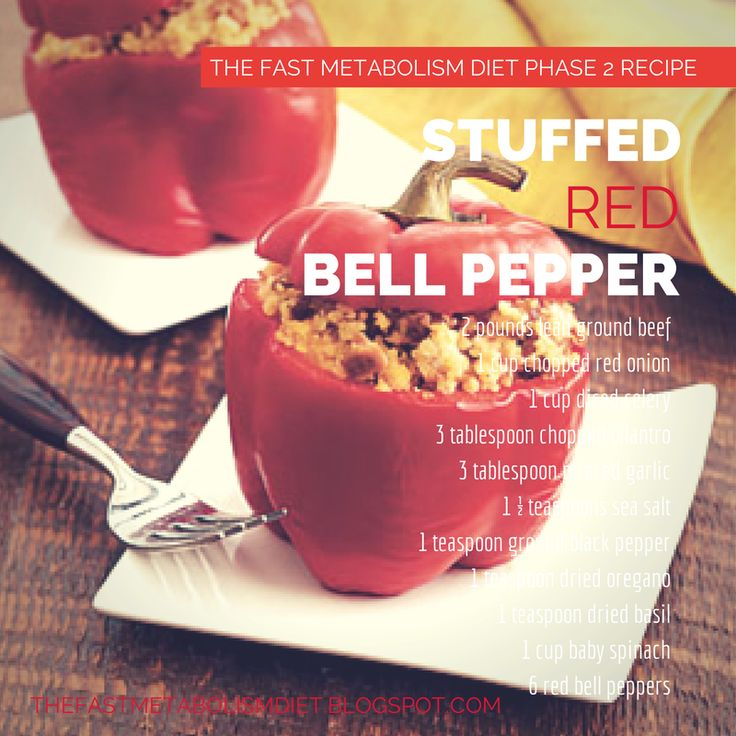 The Fast Metabolism Diet Phase 2 Recipe: Stuffed Red Bell Pepper #thefastmetabolismdiet # ...