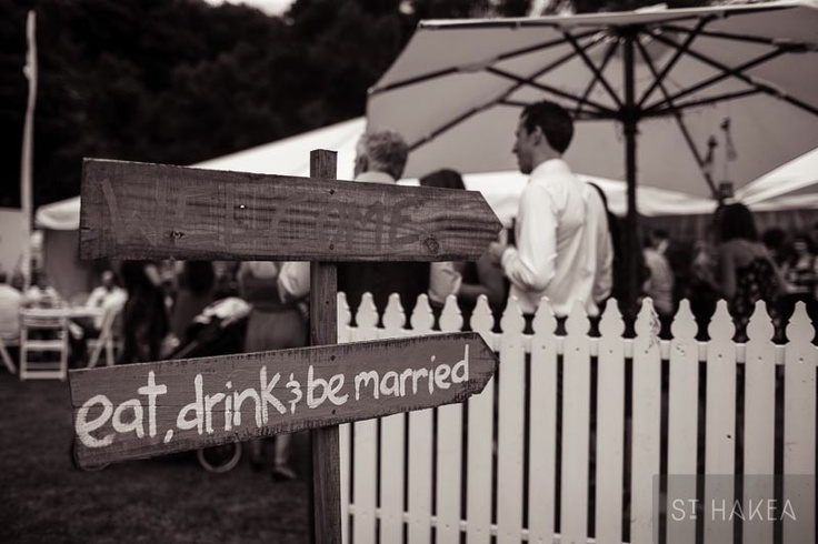 wedding signage. pre-reception-drinks outside the marquee. Styled by St. Hakea sthakea.com