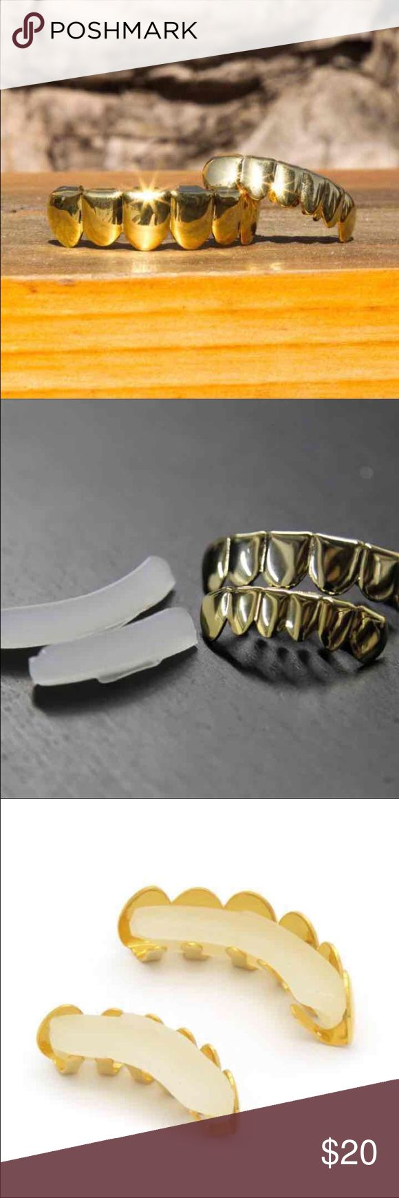 New 14k Gold Plated Top & Bottom Row Grillz FREE SHIPPING! BRAND NEW!  Grillz are designed perfectly for your top & bottom row teeth and is one size fits all. Includes two silicon fixing bars that fits your teeth and keeps the Grillz on tight. COMES WITH EASY TO FOLLOW INSTRUCTIONS AND READY TO WEAR IN MINUTES! Each grill can fit any teeth matter how straight or crooked your teeth are.  You can put the Grillz on anytime and remove them easily whenever you want :D Jewelry
