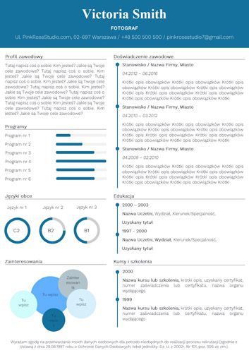 Szablon CV Tiffany niebieski resume http://bestcv.eu/szablon-cv-list-motywacyjny-referencje-tiffany