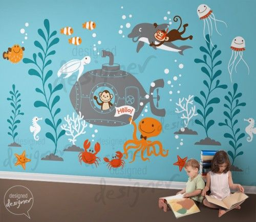Children Wall Decal Kids Wall Sticker Underwater World