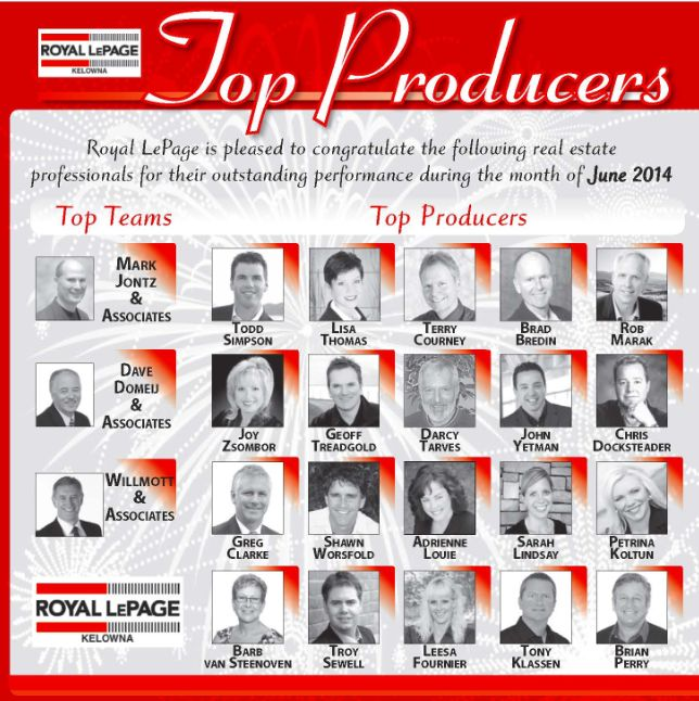 Congrats To The Top Professionals Of June 2014 - Royal LePage Kelowna Real Estate