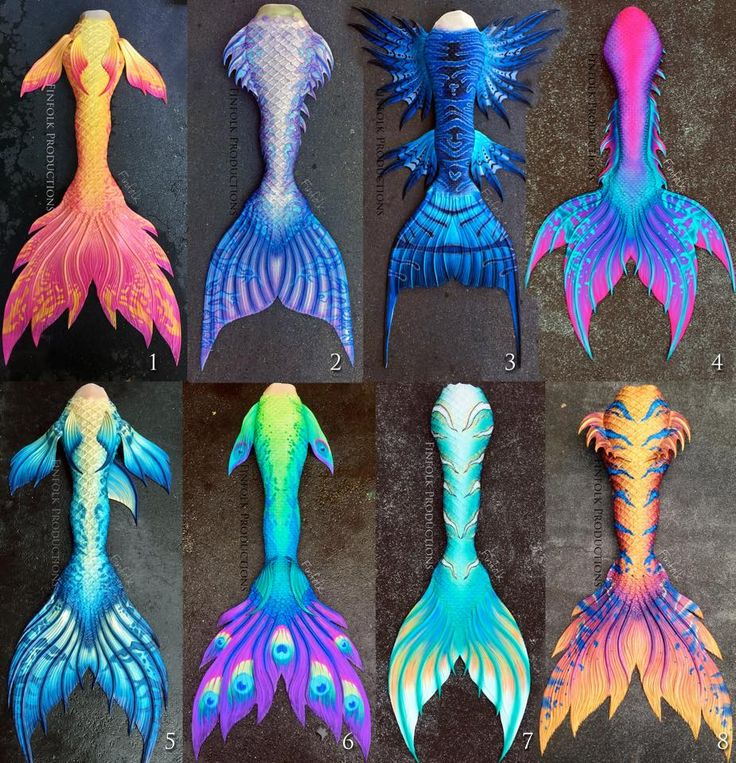A bunch of gorgeous Finfolk Productions Silicone mermaid tails. It is hard to pick my favorite one!