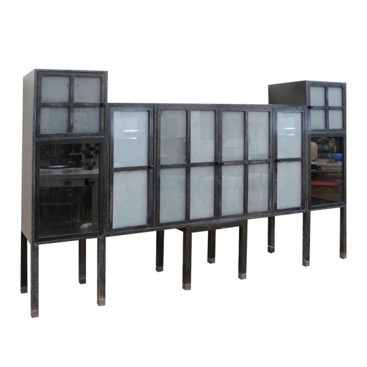 Rare Pace Cerused Ash and Sandblasted Glass Cabinet/ Bar/ Entertainment Center | 1stdibs.com